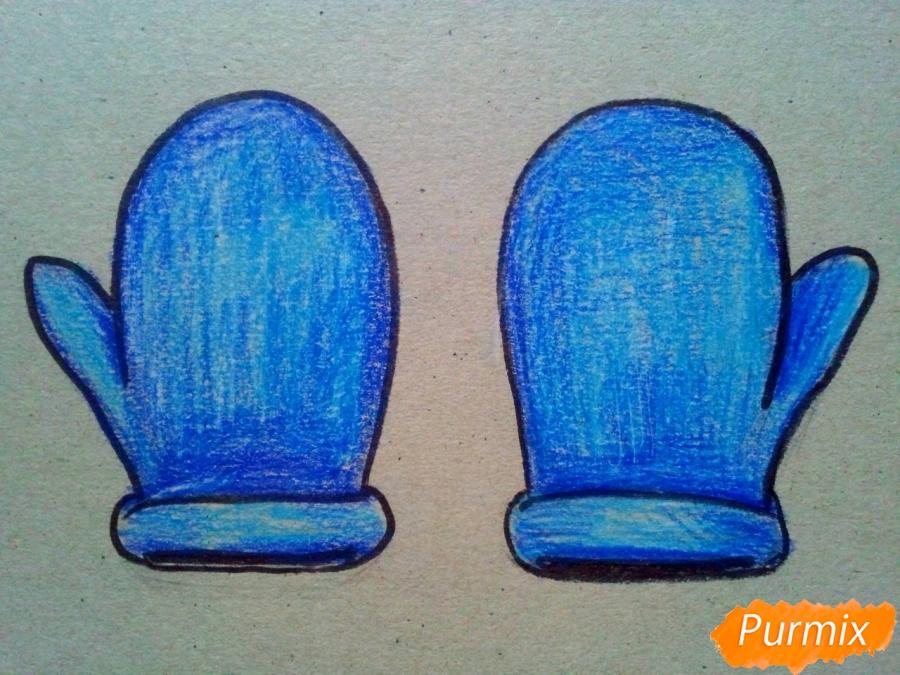 Рисуем зимние варежки просто для детей - шаг 6