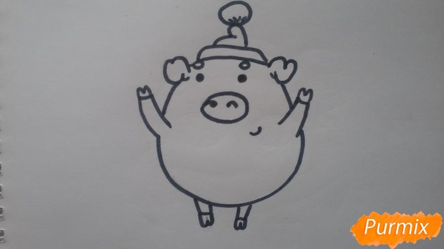 Как просто нарисовать свинью в новогодней шапочке ребенку - шаг 6