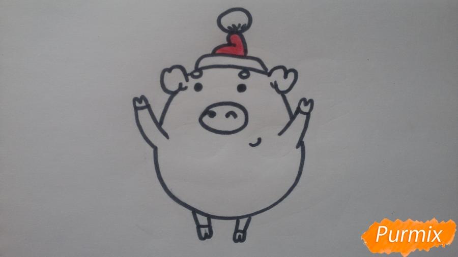 Как просто нарисовать свинью в новогодней шапочке ребенку - шаг 7
