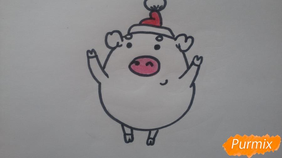 Как просто нарисовать свинью в новогодней шапочке ребенку - шаг 8