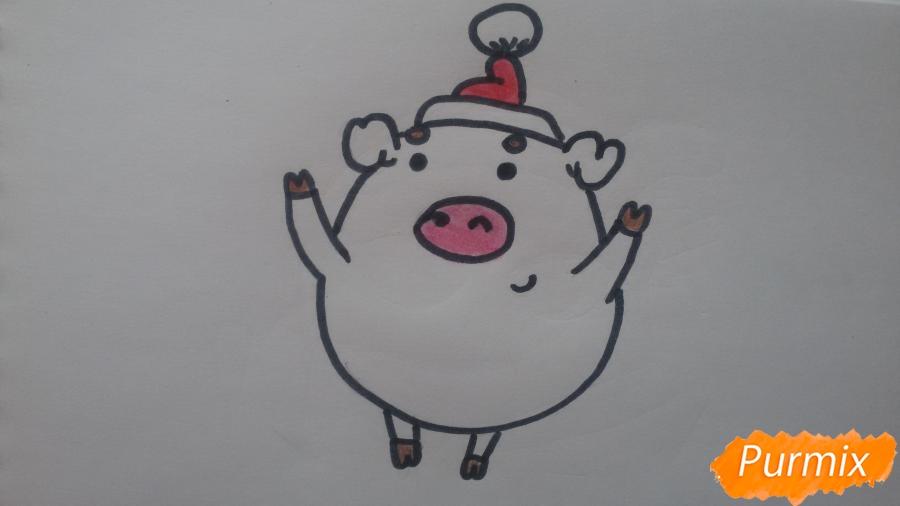 Как просто нарисовать свинью в новогодней шапочке ребенку - шаг 9
