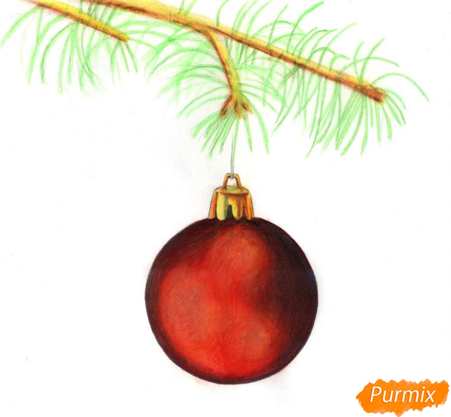 Рисуем ветку ели с новогодней игрушкой - шаг 4