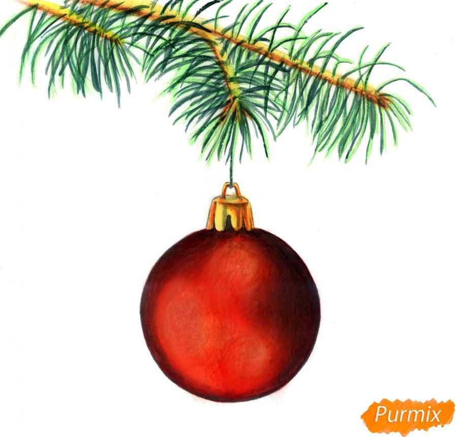 Рисуем ветку ели с новогодней игрушкой - фото 5