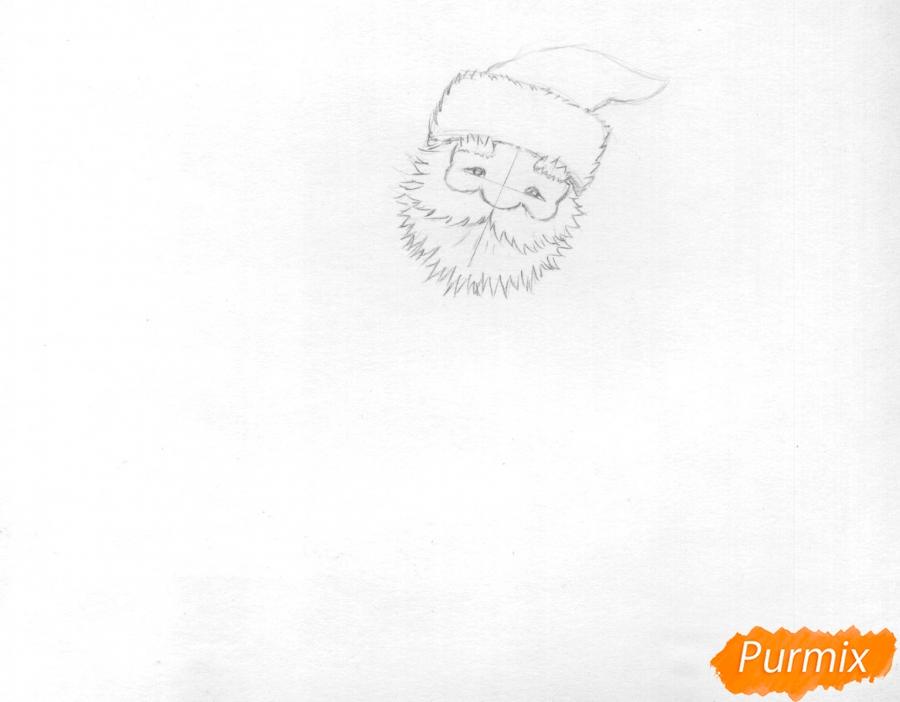 Рисуем и раскрасить Деда Мороза на олене - шаг 2