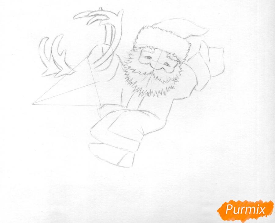 Рисуем и раскрасить Деда Мороза на олене - шаг 4