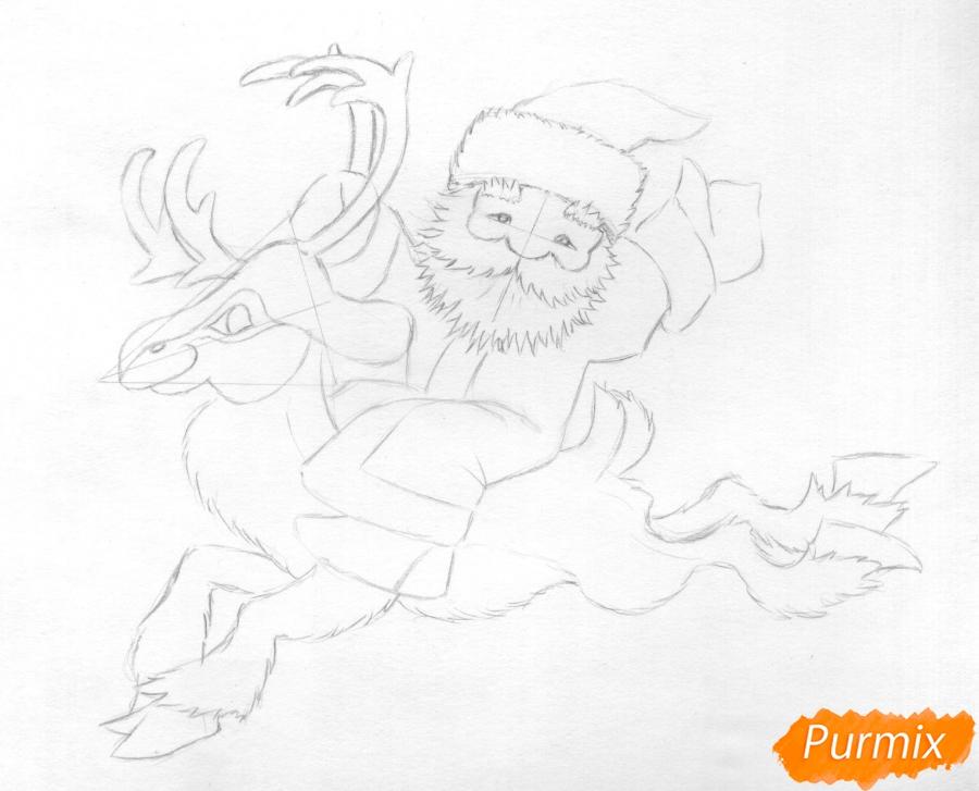 Рисуем и раскрасить Деда Мороза на олене - шаг 5
