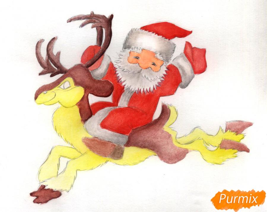 Рисуем и раскрасить Деда Мороза на олене - шаг 6