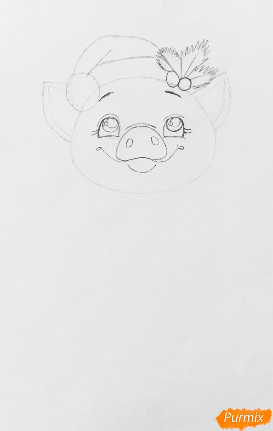 Милая свинка с большой надписью С Новым годом - шаг 3
