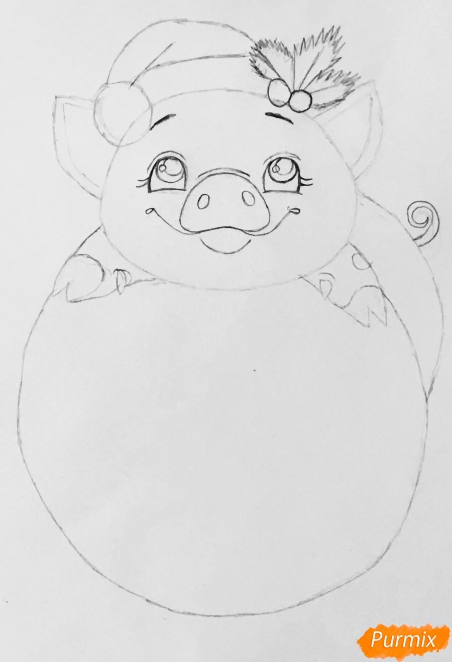 Милая свинка с большой надписью С Новым годом - шаг 5