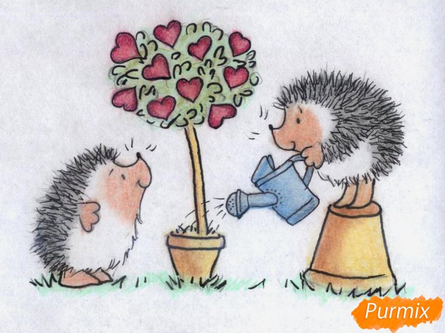 Рисуем двух ежиков и дерево с сердечками на День святого Валентина цветными карандашами поэтапно