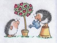 Рисуем двух ежиков и  дерево с сердечками на День св.Валентина