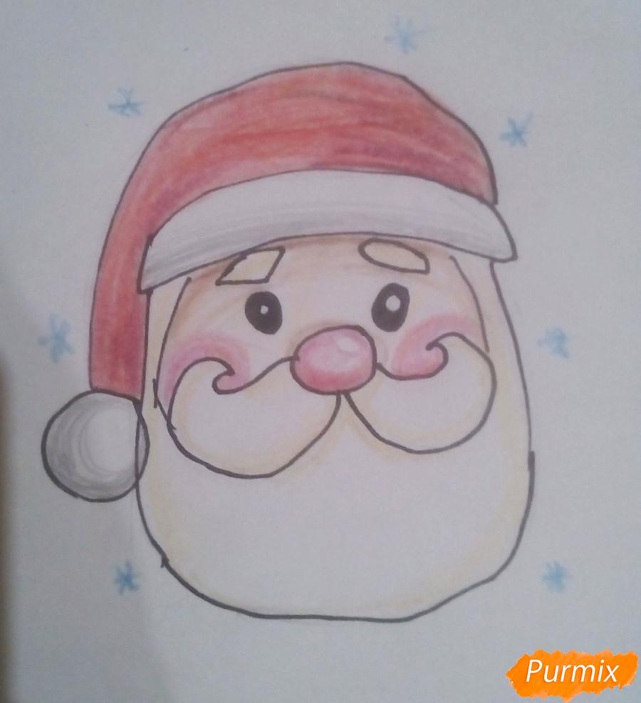 Рисуем голову милого Деда Мороза - фото 7