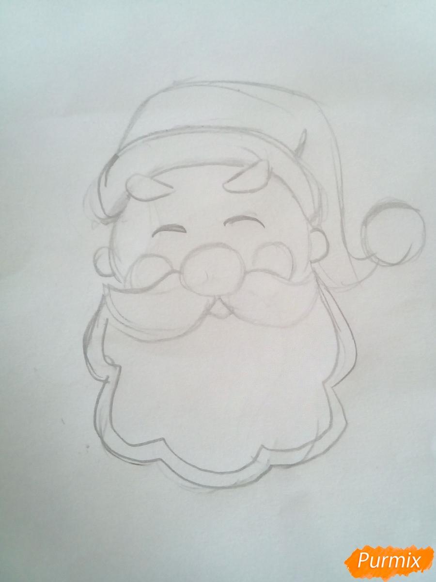 Рисуем голову милого Дедушки Мороза детям - фото 3