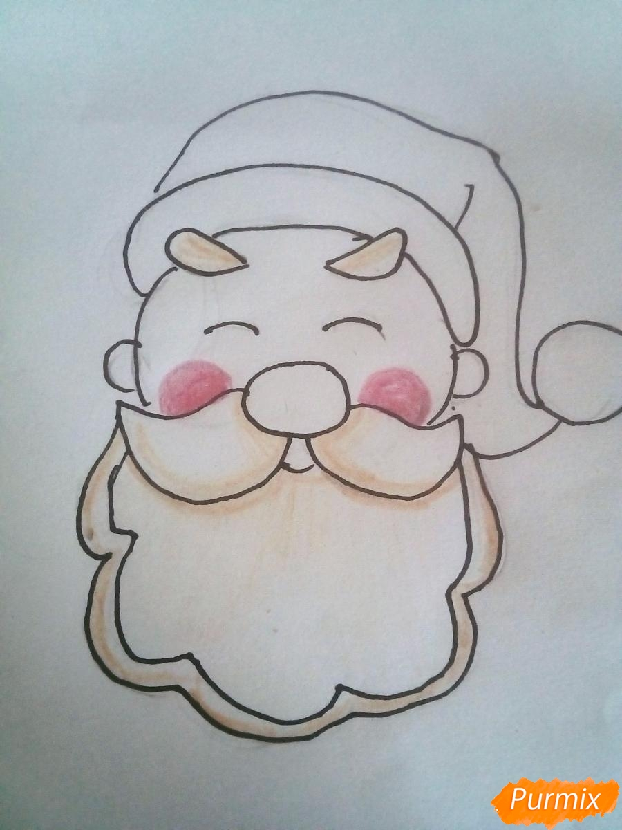 Рисуем голову милого Дедушки Мороза детям - фото 6