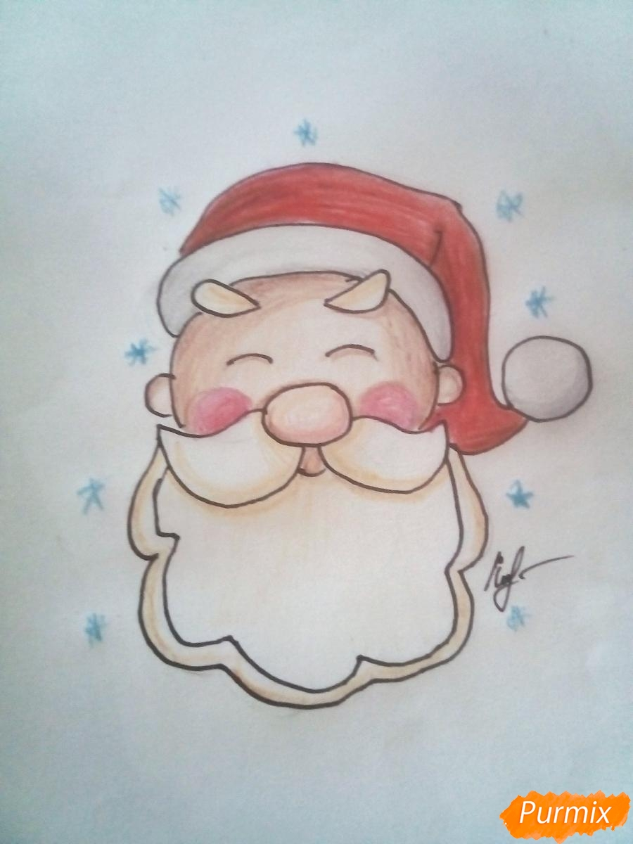 Рисуем голову милого Дедушки Мороза детям - фото 8