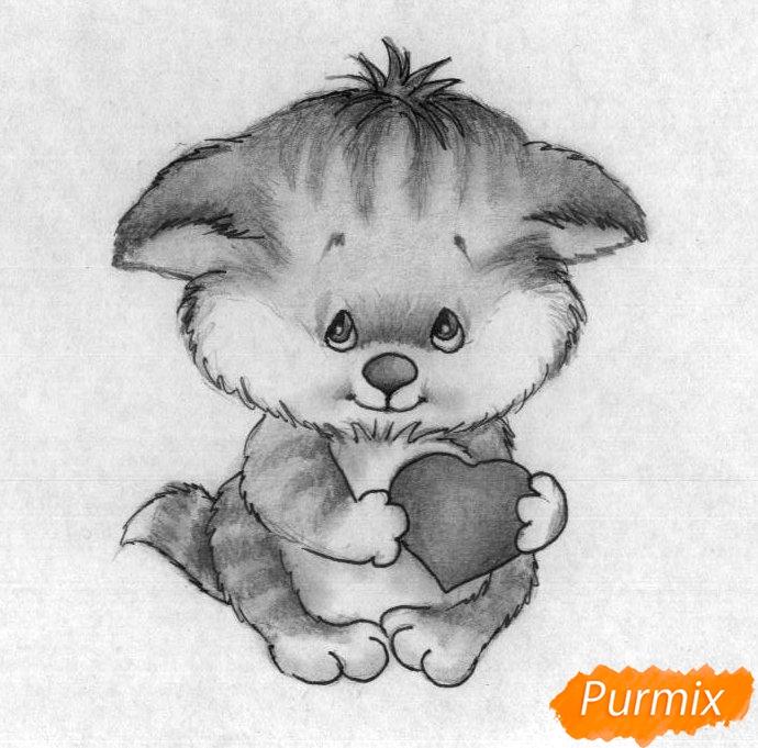 Как нарисовать котёнка с сердечком на День святого Валентина поэтапно