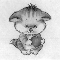 Рисуем котёнка с сердечком на День святого Валентина поэтапно
