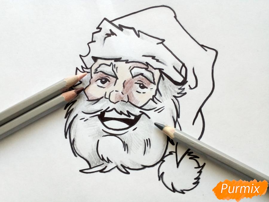 Рисуем лицо, голову Деда Мороза - фото 7