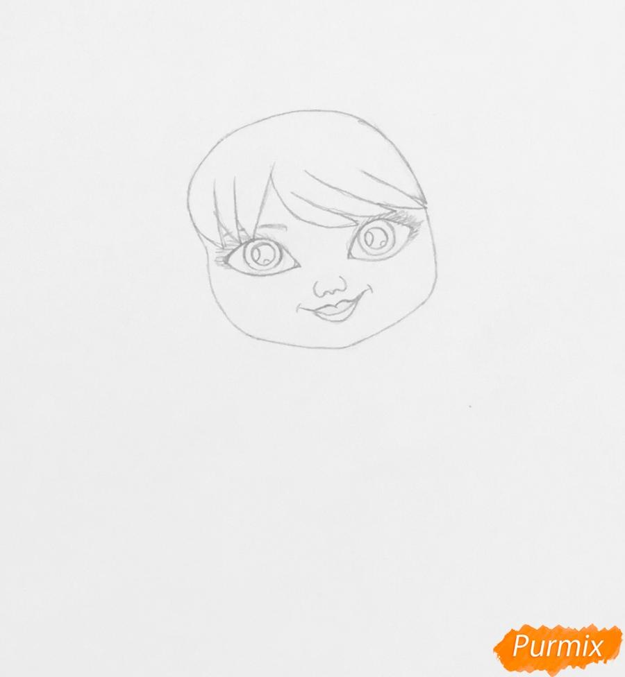 Рисуем милую снегурочку с игрушечным мишкой в руках - шаг 2