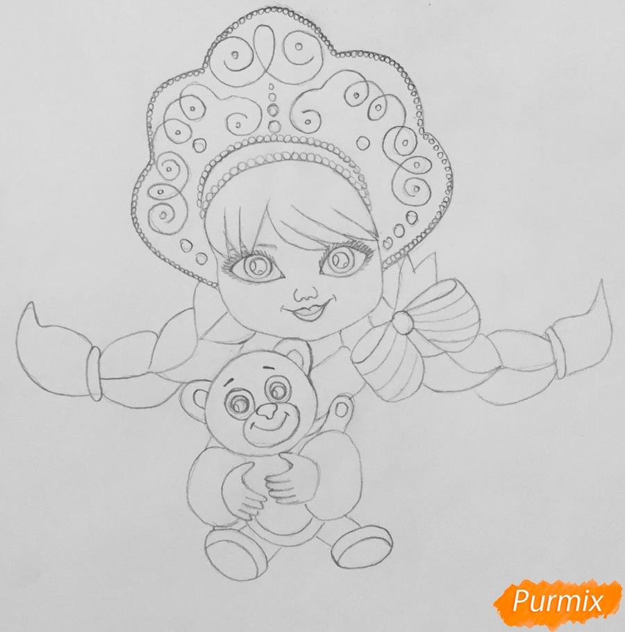 Рисуем милую снегурочку с игрушечным мишкой в руках - шаг 5