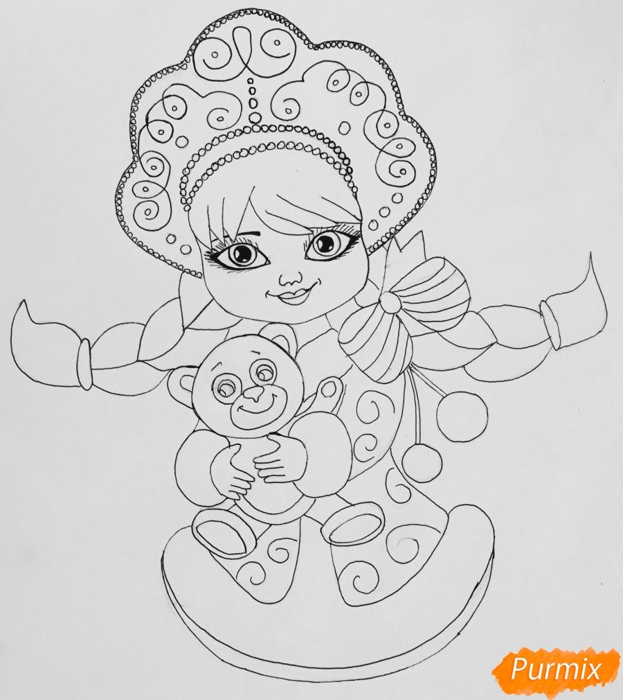 Рисуем милую снегурочку с игрушечным мишкой в руках - шаг 7