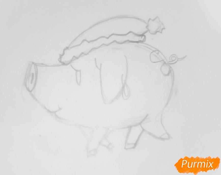 Рисуем милую свинку в новогодней шапочке символ нового 2019 года - шаг 3