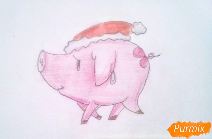 Рисуем милую свинку в новогодней шапочке символ нового 2019 года - шаг 7