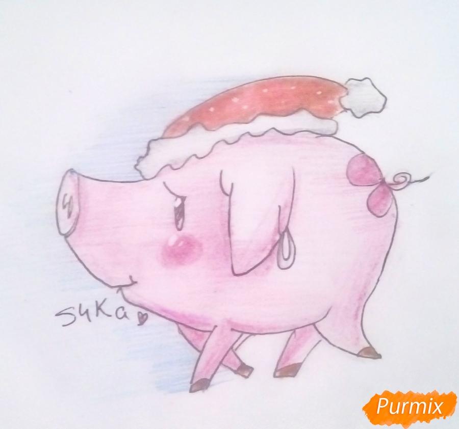 Рисуем милую свинку в новогодней шапочке символ нового 2019 года - шаг 8