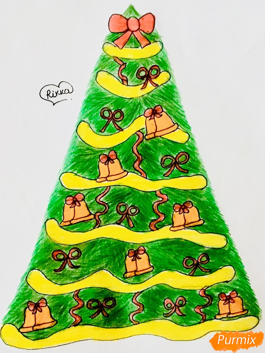 Рисуем новогоднюю ёлку с колокольчиками - фото 12