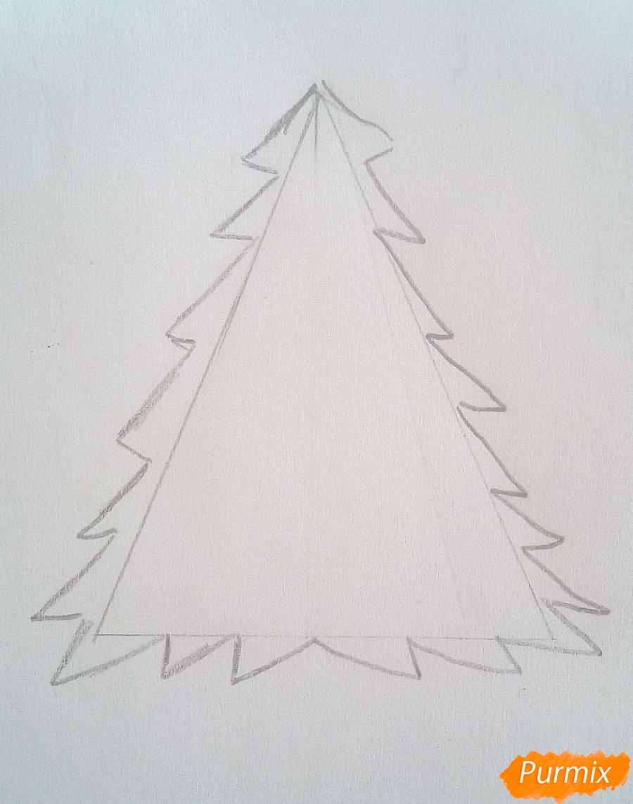 Рисуем новогоднюю ёлку с звездой и игрушками - фото 2