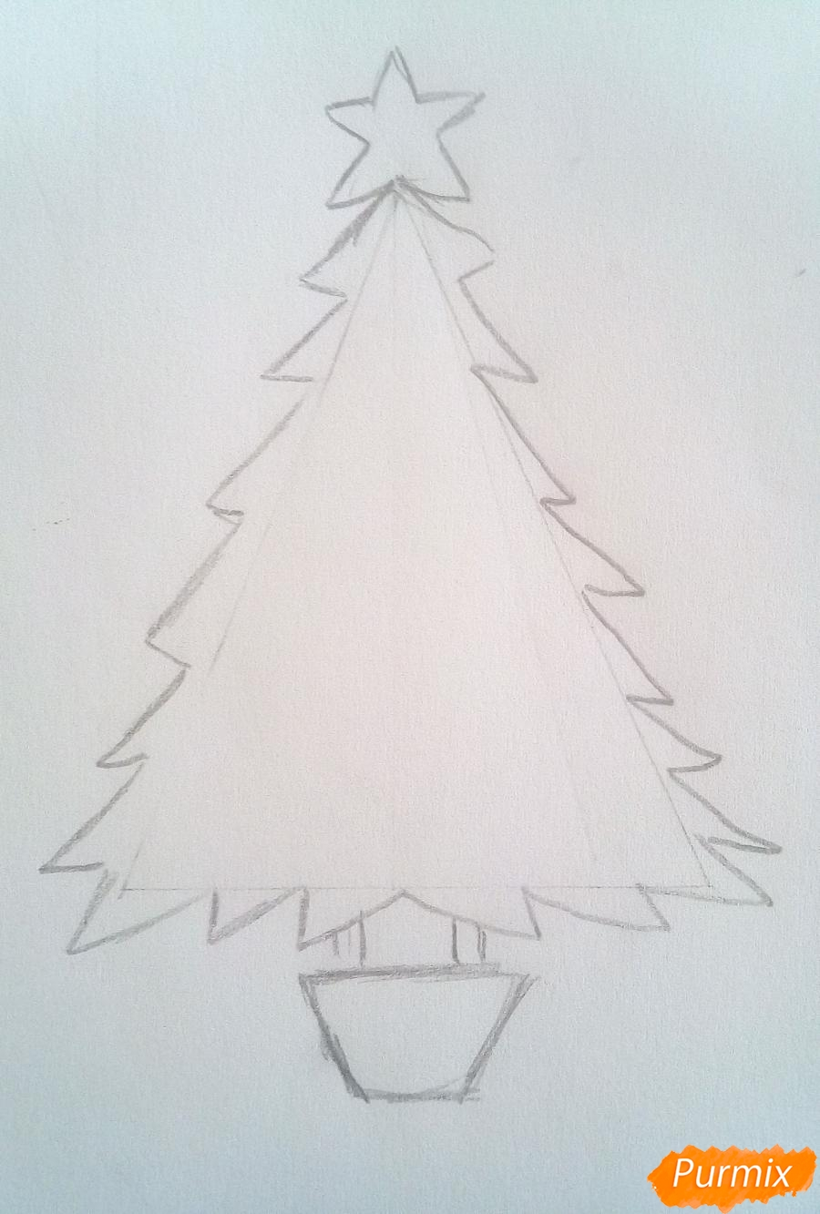 Рисуем новогоднюю ёлку с звездой и игрушками - фото 3