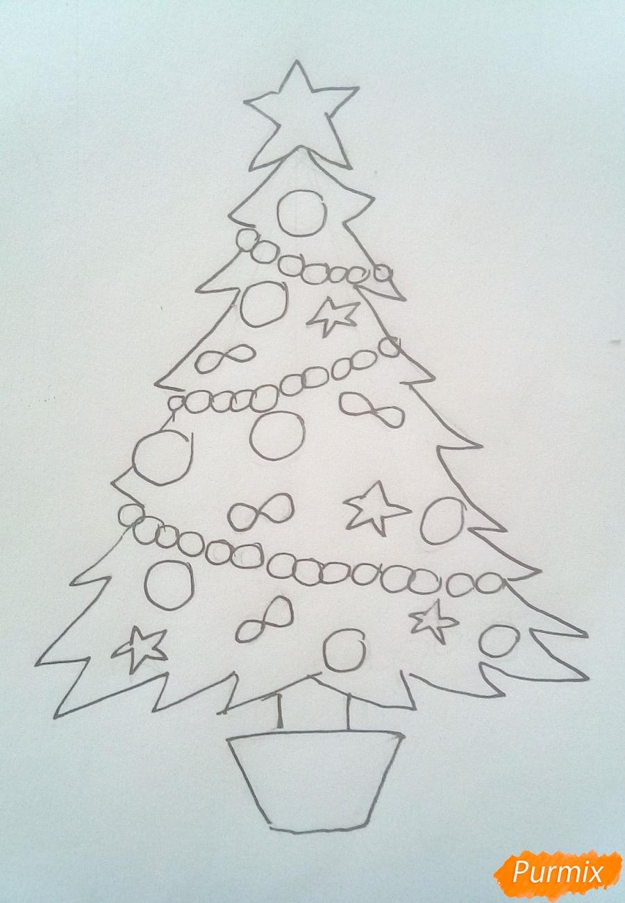 Рисуем новогоднюю ёлку с звездой и игрушками - фото 5