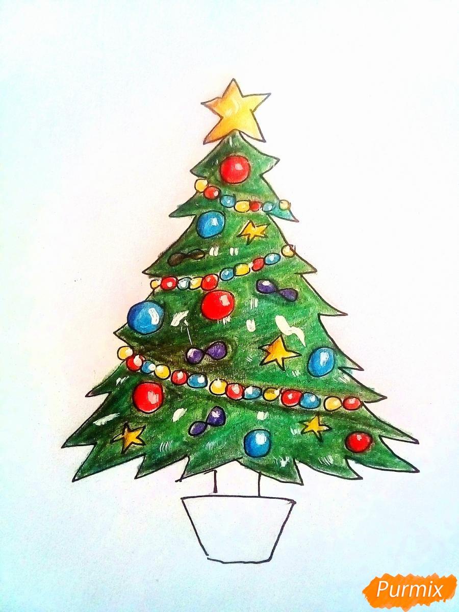 Рисуем новогоднюю ёлку с звездой и игрушками - фото 7