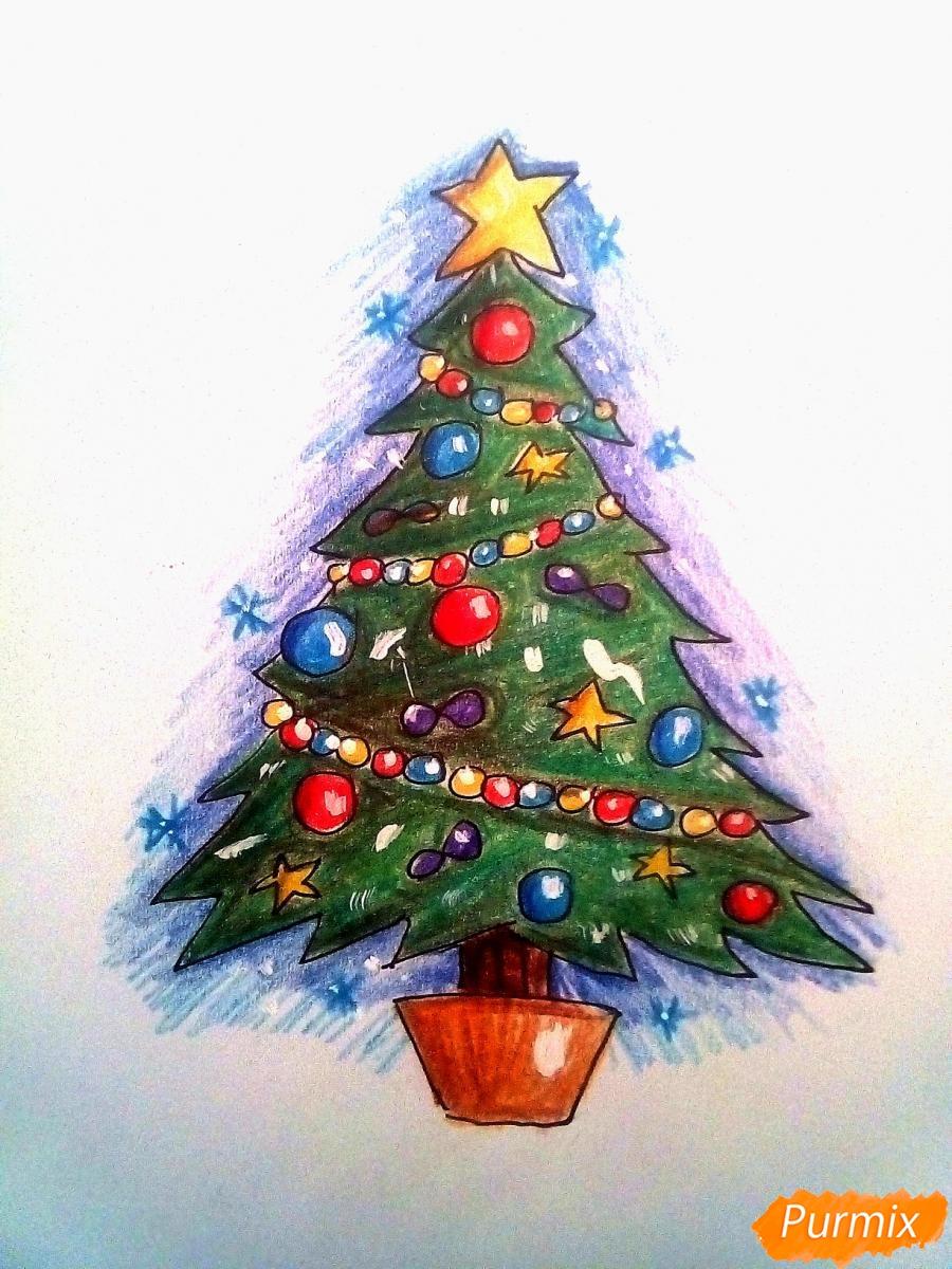 Рисуем новогоднюю ёлку с звездой и игрушками - фото 8