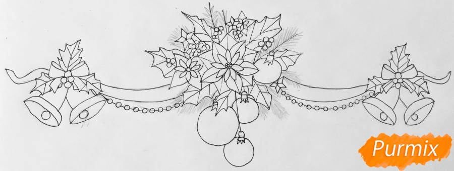 Рисуем новогоднюю гирлянду с игрушками с лентами и колокольчиками - шаг 6