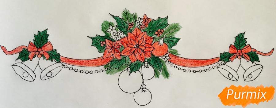 Рисуем новогоднюю гирлянду с игрушками с лентами и колокольчиками - шаг 8