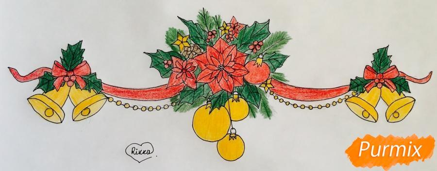 Рисуем новогоднюю гирлянду с игрушками с лентами и колокольчиками - шаг 9