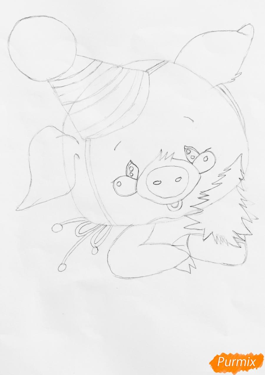 Рисуем новогоднюю свинку в новогодней шапочке и с ёлочкой - шаг 4