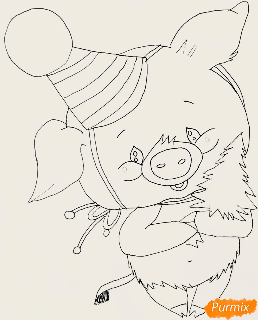 Рисуем новогоднюю свинку в новогодней шапочке и с ёлочкой - шаг 6