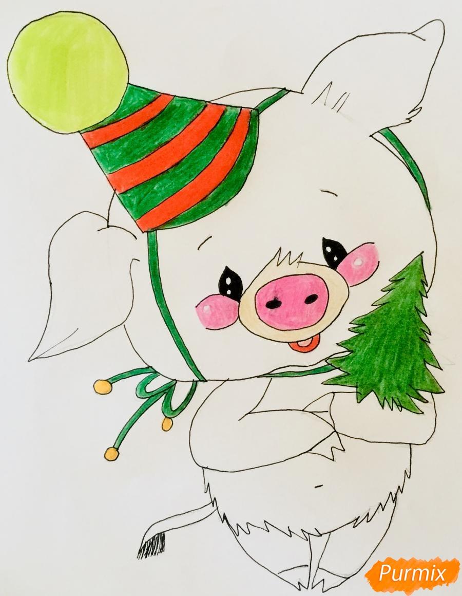 Рисуем новогоднюю свинку в новогодней шапочке и с ёлочкой - шаг 7