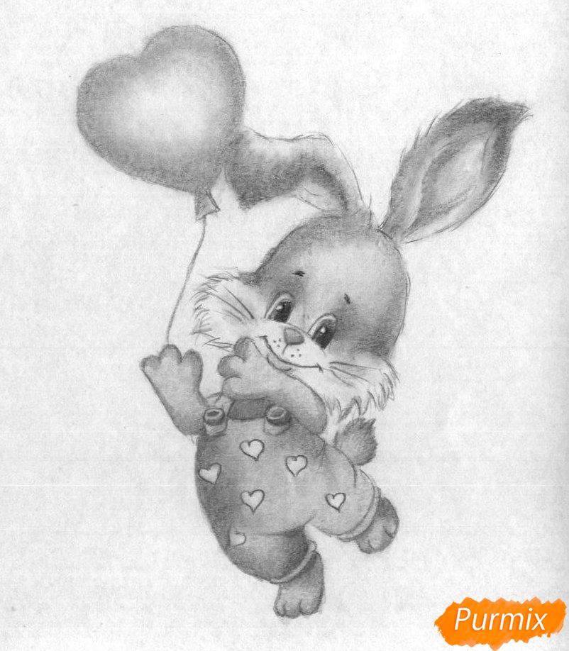 Рисуем зайца с шариком на День святого Валентина - шаг 4
