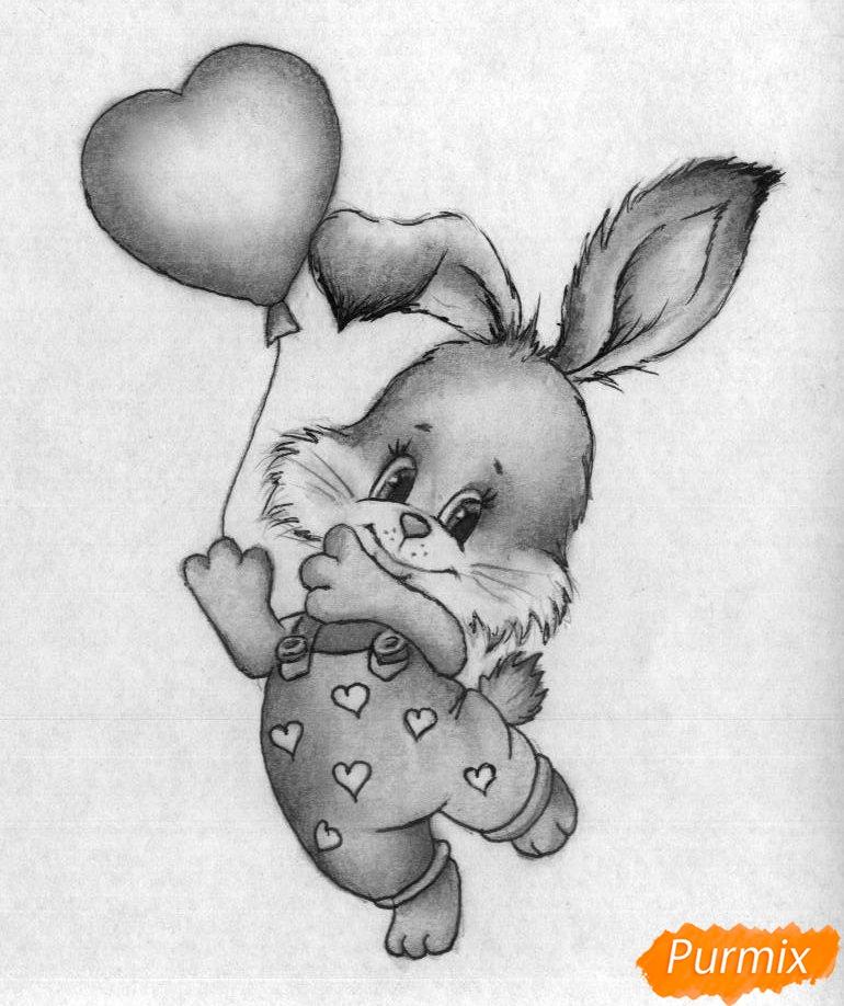 Как нарисовать зайца с шариком на День святого Валентина карандашом поэтапно