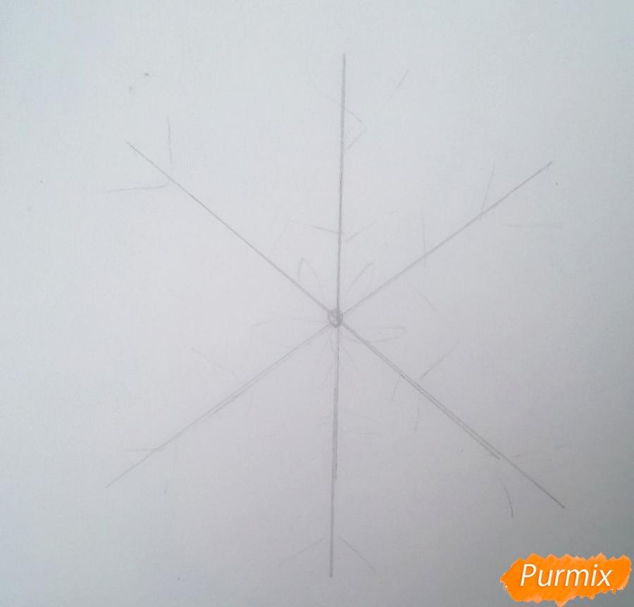 Рисуем просто снежинку на новый год - фото 1