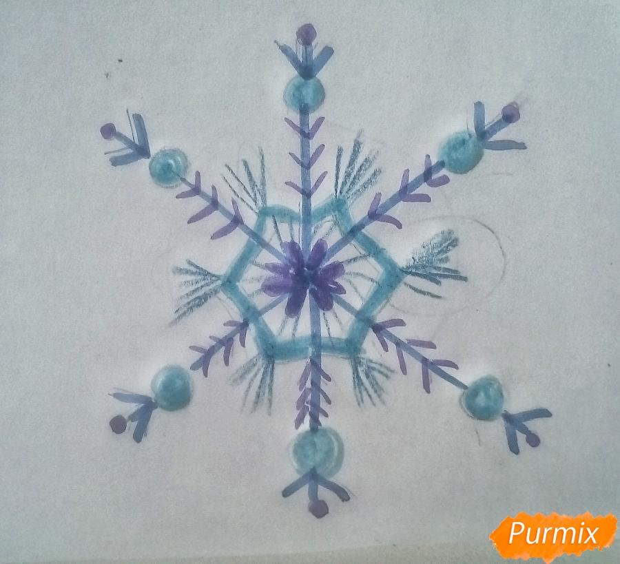 Рисуем просто снежинку на новый год - фото 5