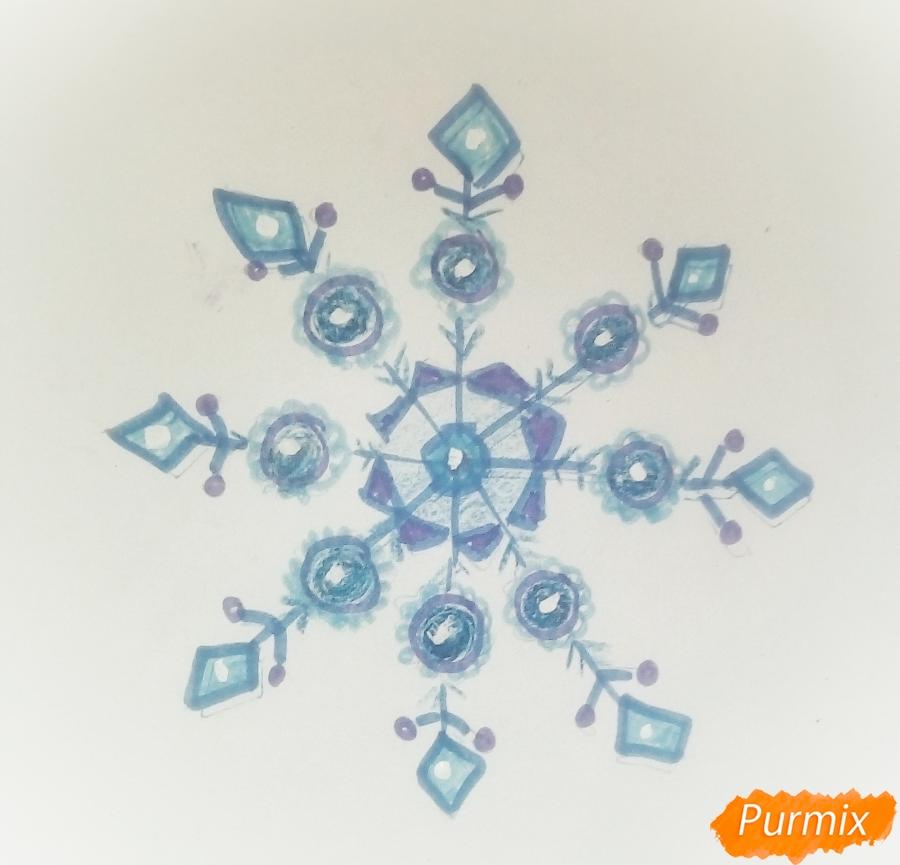 Рисуем просто снежинку на Новый Год вариант 2 - фото 5