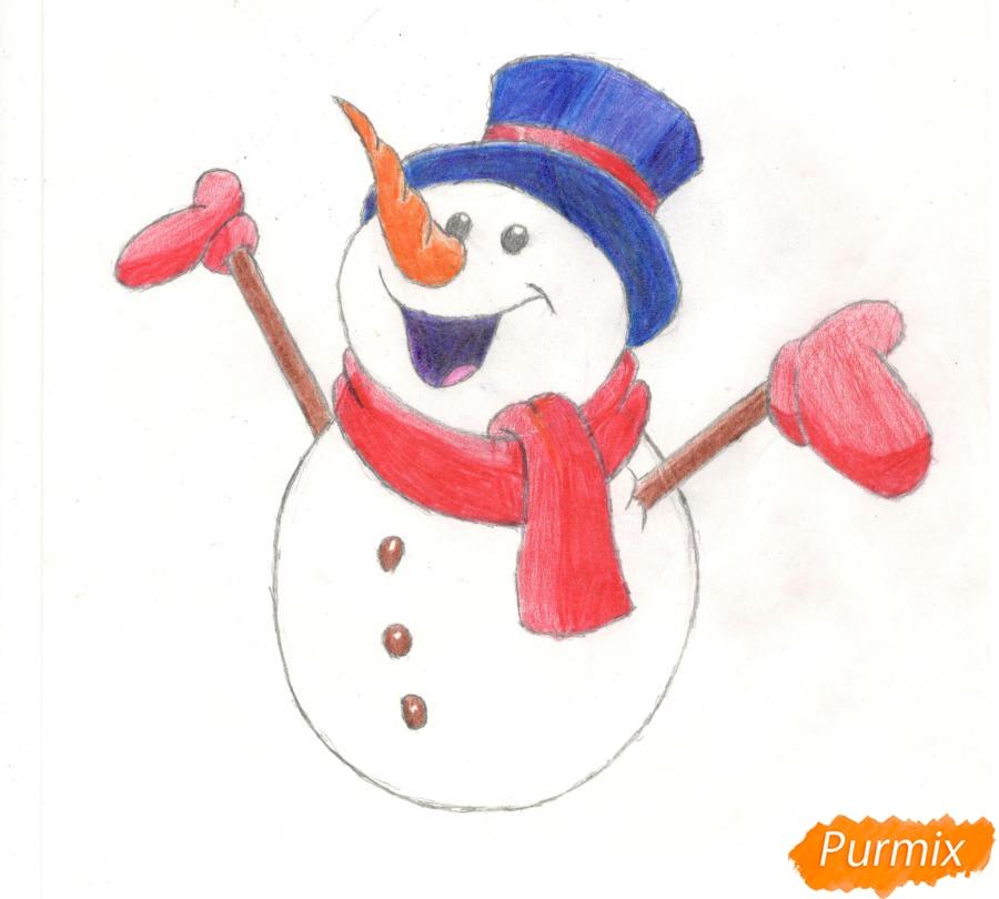 Рисуем счастливого снеговика - шаг 12