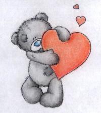 Рисуем тедди с сердечком на День св. Валентина цветными карандашами
