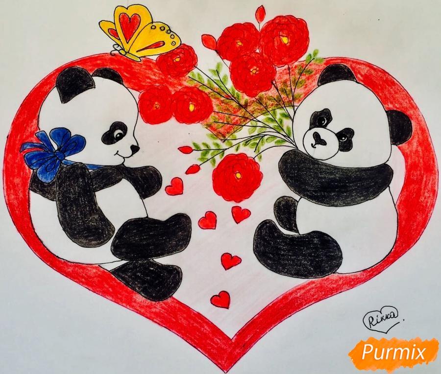 Рисуем валентинку с влюблёнными пандами и с цветочками - шаг 10