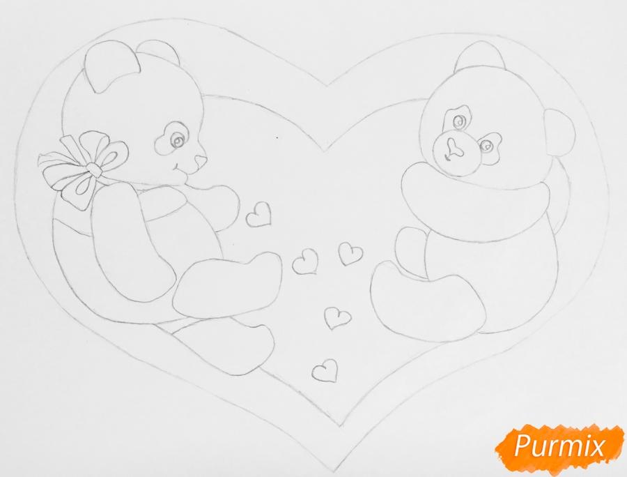 Рисуем валентинку с влюблёнными пандами и с цветочками - шаг 4