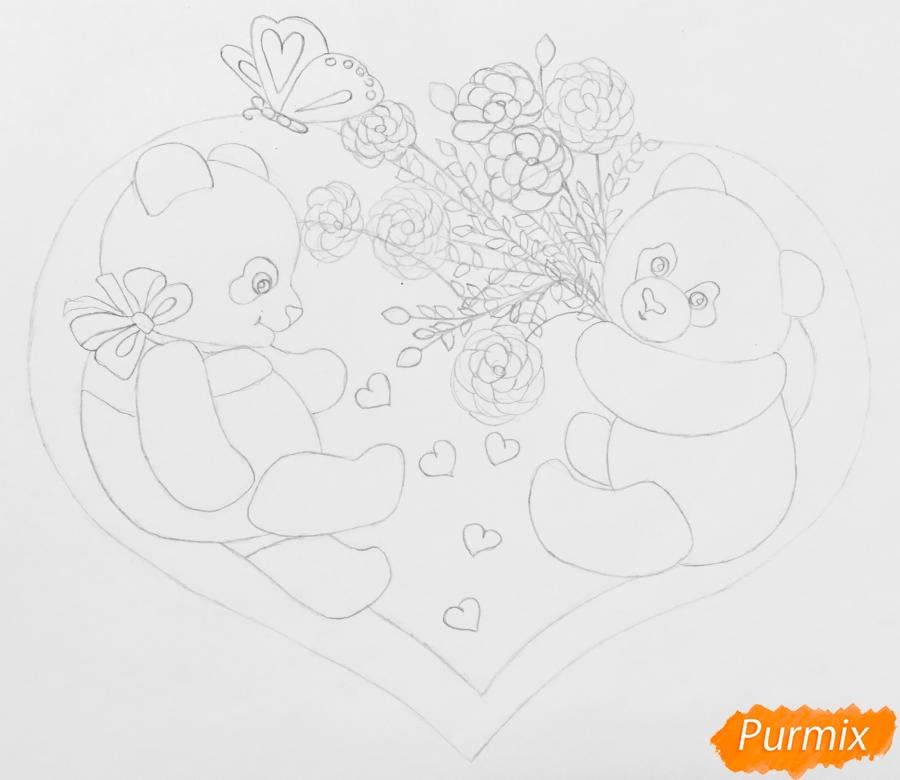 Рисуем валентинку с влюблёнными пандами и с цветочками - шаг 5